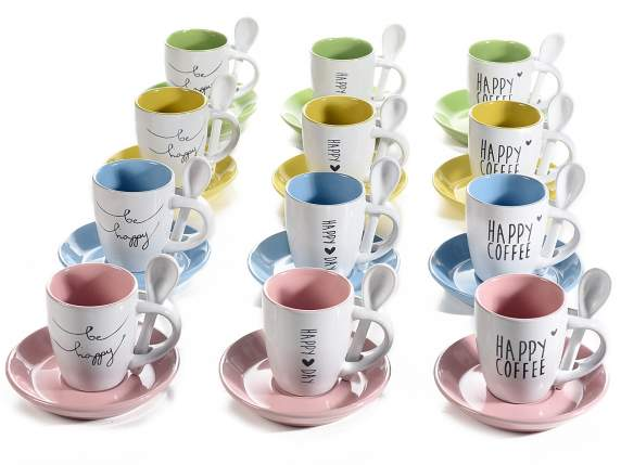 Coffee cups in colored ceramic with saucer