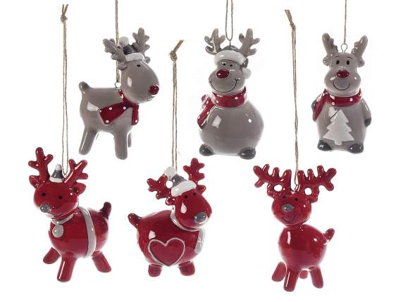 Colored ceramic decorative reindeer to hang