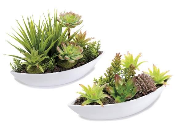 Composizione di piante grasse artificiali in vaso di for Vasi piante grasse