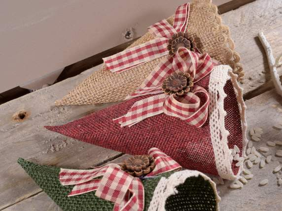 Fabric cone sachets favor with bow