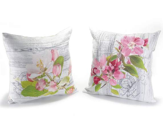 Cushion cover w-pink flowers printing