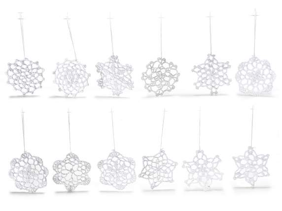 Conf 12 crochet snowflakes for Xmas decorations