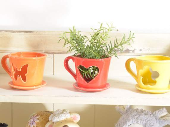 Colored ceramic cup candle holder