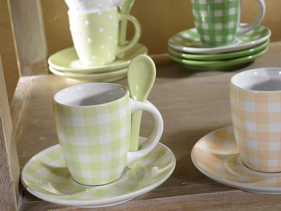 Coffee cups w-plate and spoon