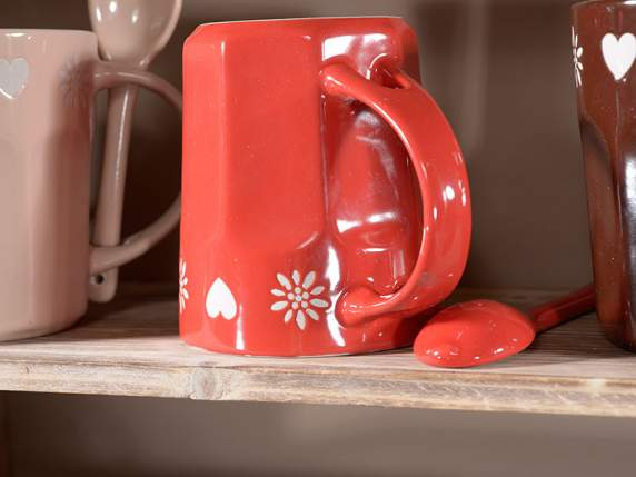 Pottery mugs with integrated spoon