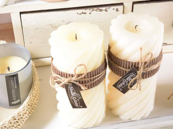 Cylindrical ivory scented candles