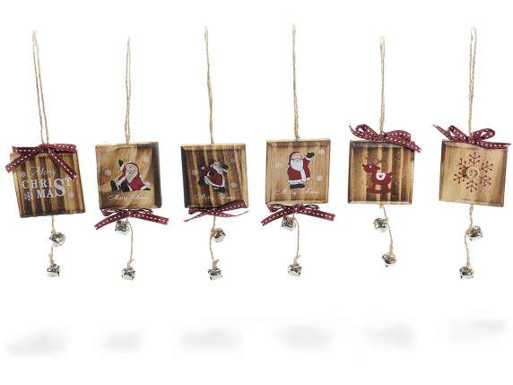 Xmas wooden hanging small square for decoration w-bells