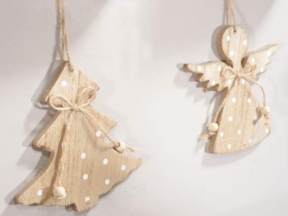 Hanging wooden decoration w-snowflakes print