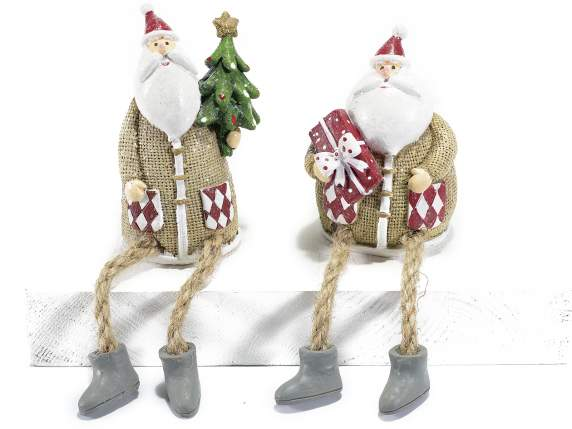 Decorative Santa Claus in resin with long legs