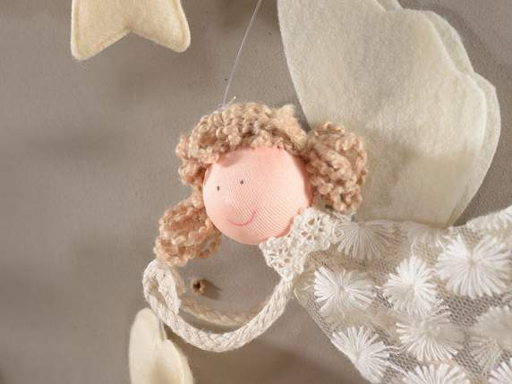 Hanging angels in lace for decorations