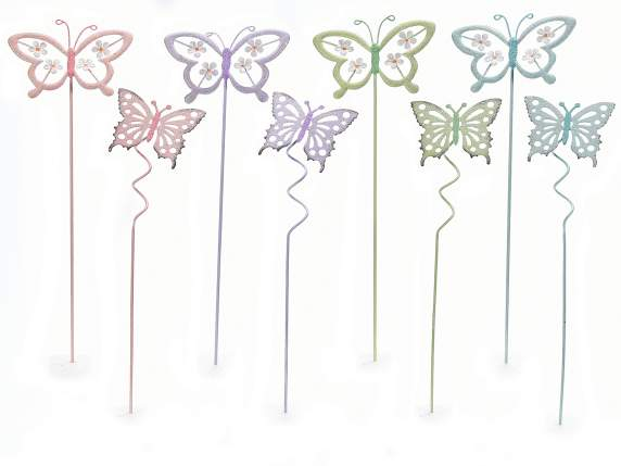 Decorative butterfly on colored metal stick