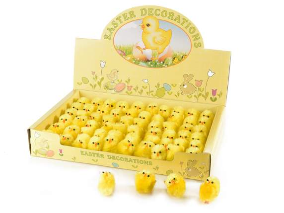 Table display  with 60 decorative moldable chicks.