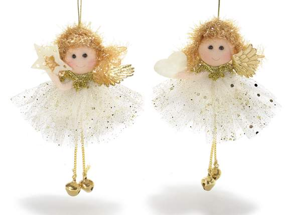 Decorative golden tulle angels to hang