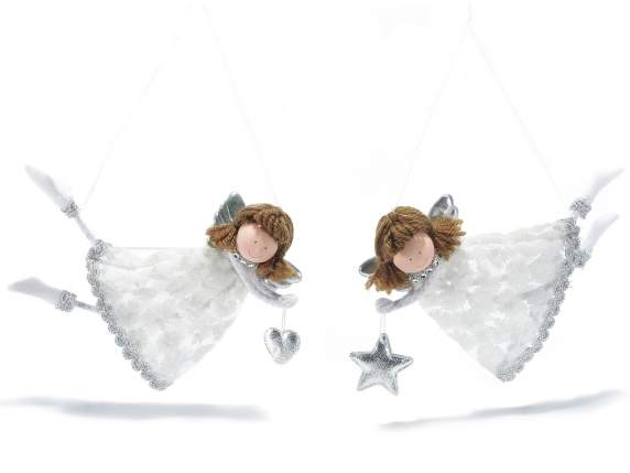 Angels in lace with silver wings to hang