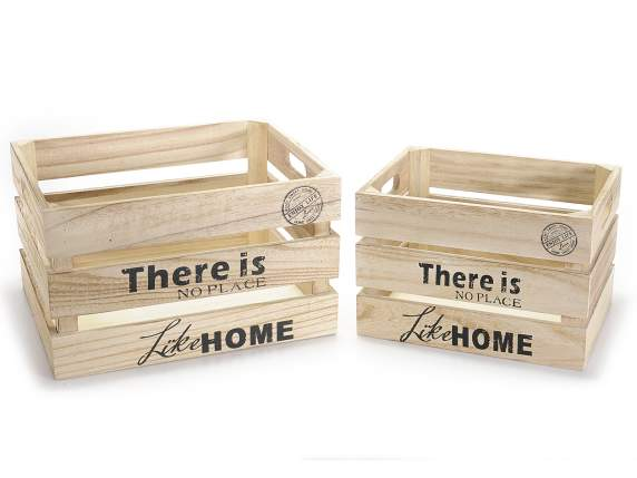 Set 2 natural wooden box with writing