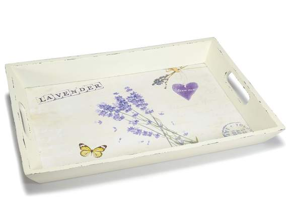 Wooden tray with handle and lavender decoration