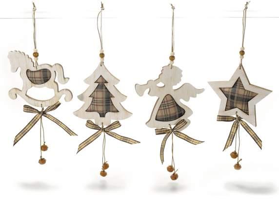 Decorazioni natalizie in legno e stoffa a quadretti da - Decorazioni natalizie in legno ...