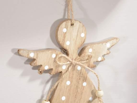 Decorazione legno appendere c stampa effetto fiocchi di - Decorazioni natalizie con legno ...