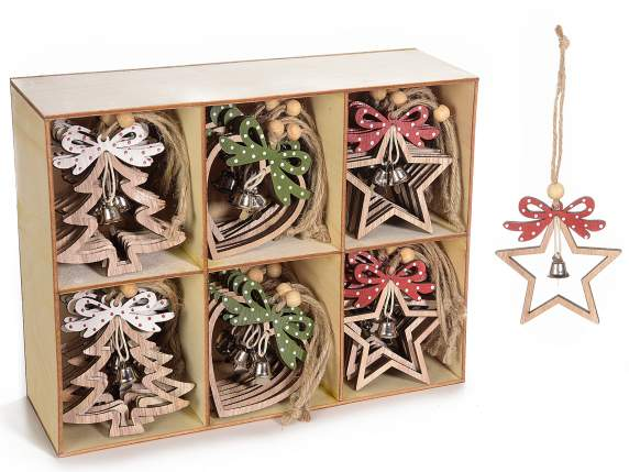 Display with 36 wooden decorations to be hanging with bell