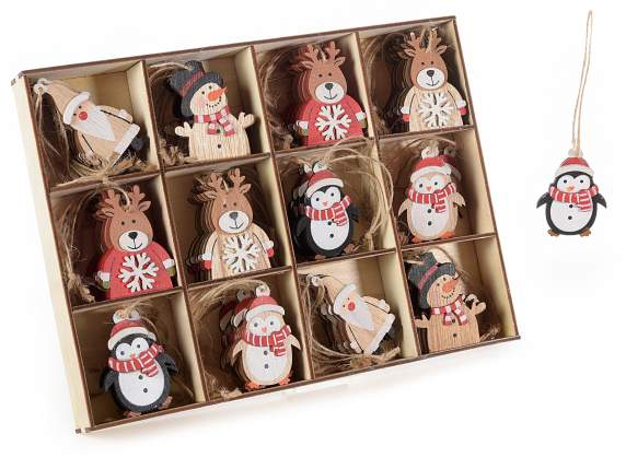 Display with 72 Xmas wooden decorations to hang