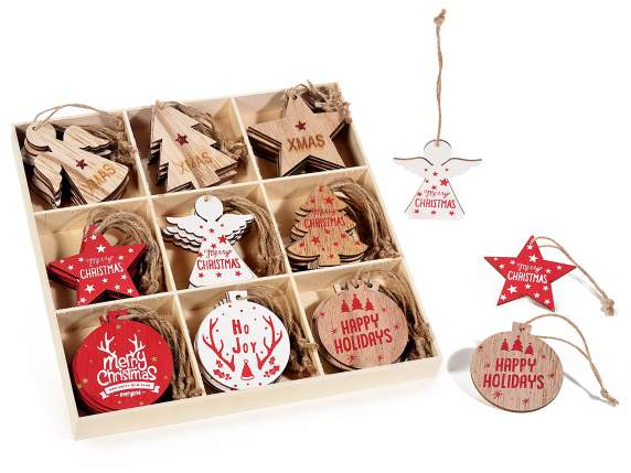 Display with 72 wooden Xmas decorations