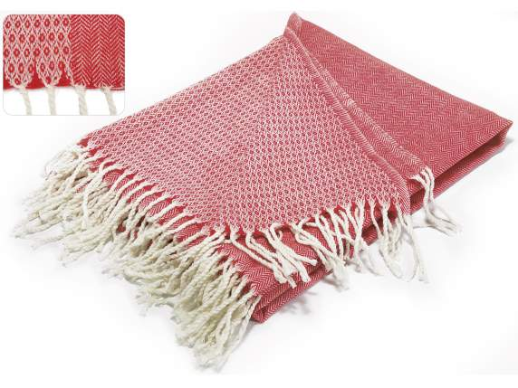 Double face red cashmere blankets with fringes