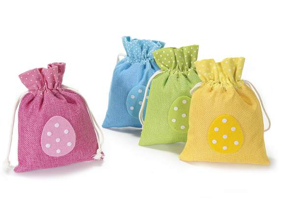 Easter cloth bag with egg decoration and tie rod