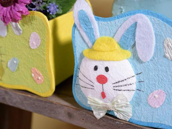 Paper basket with rabbit Easter decoration