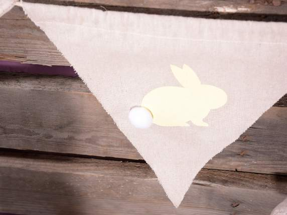 String of 5 Easter buntings banners w-bunny and pompon