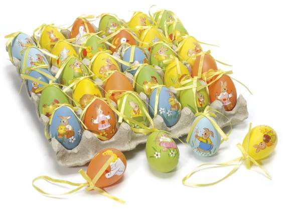 Expositor with 30 plastic hand painted eggs