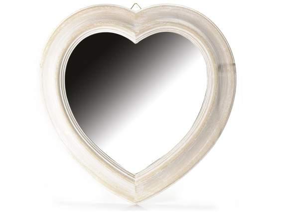 Espejo en forma de coraz n con marco en madera para colgar for Espejos de formas