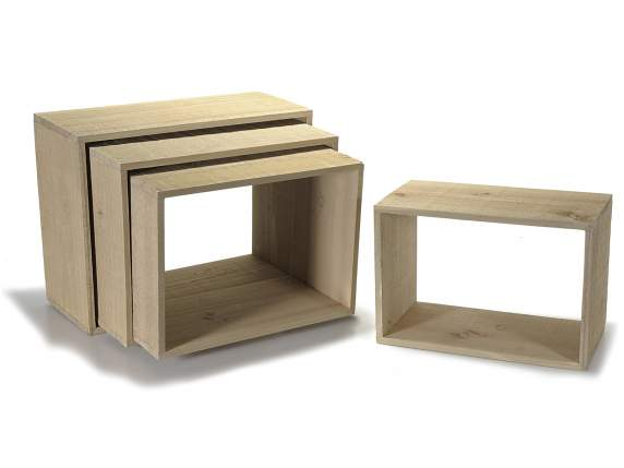 Set 4 estantes rectangulares en madera natural