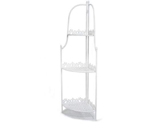 Etagère à plants dangle en metal blanc pliable à 3 niveaux