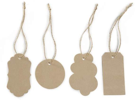 Confezione 40 tags in cartoncino color naturale