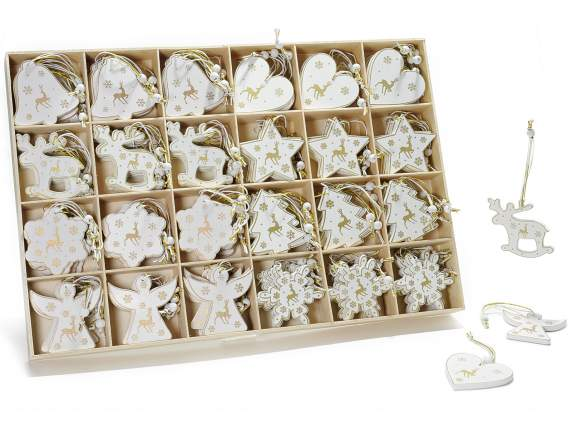 Expo of 144 white wooden decorations to hang
