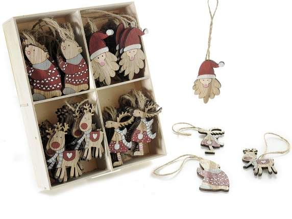 Expo with wooden hanging Xmas decorations
