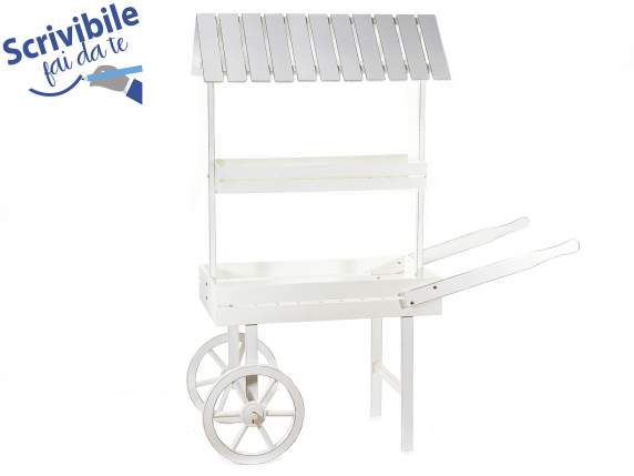 Expositive decorative large cart in white wood