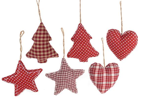 Christmas decorations in lined fabric to hang