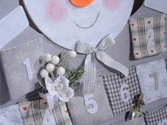 Snowman shaped advent calendars with pockets