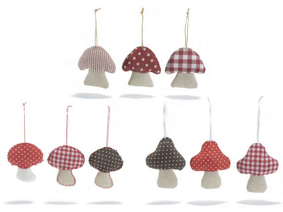 Fabric decorative mushrooms to hang