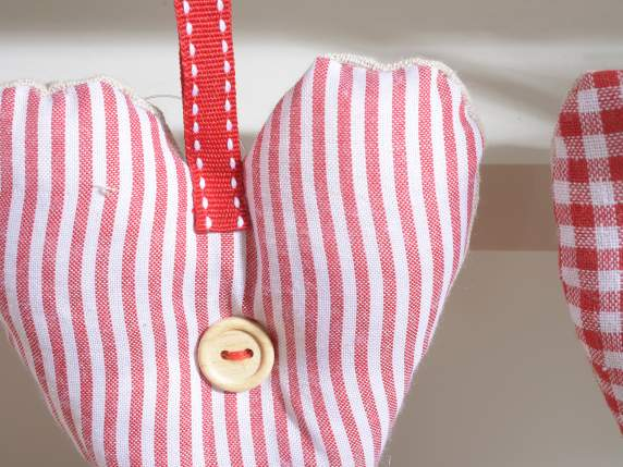 Hanging fabric hearts with grosgrain ribbon