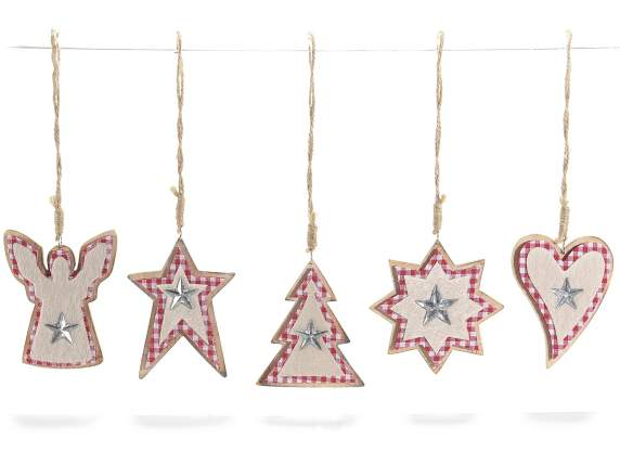 Fabric and wooden Christmas decorations
