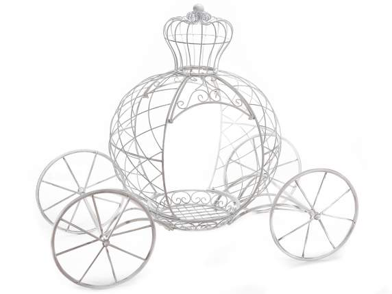 Fairytale carriage in white metal