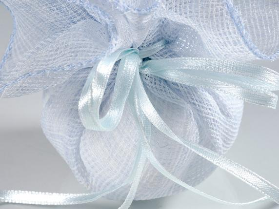 Blue cloth sugared almond sachet with round base and string