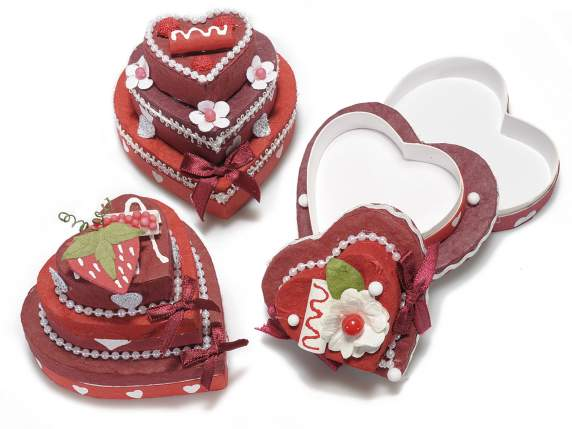 Bonbonniere heart shaped box in paper w-decorations