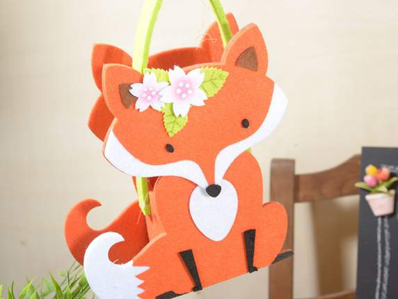 Felt bag fox shaped with decoratives flowers
