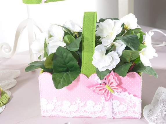Felt basket with tissue coat, butterfly and lace