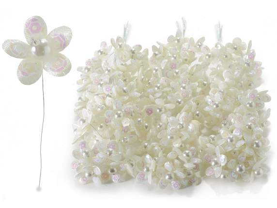 Cream-coloured flower for bonbonniere w-pearl and pailettes