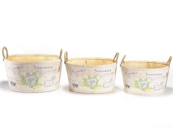 Set of 3 wooden flower pot with decorative printing