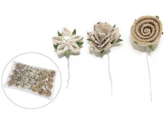 Conf 27 jute and cloth flowers w-modelled stem